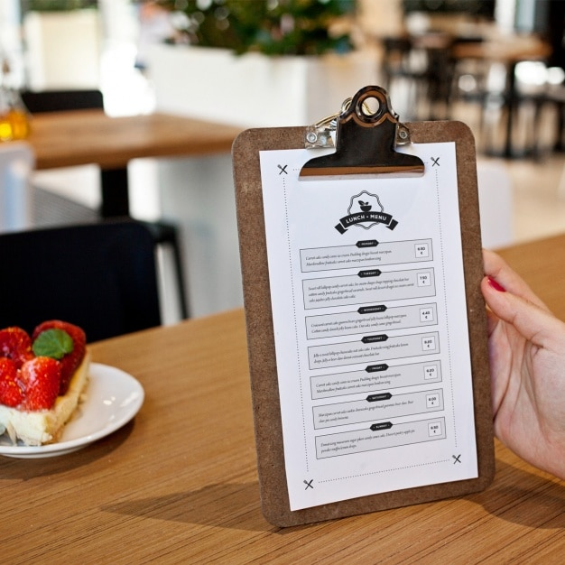 Restaurant Menu Clipboard