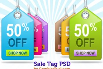 Free Colorful Sale Tags Mockup in PSD