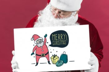 Free Santa Claus Plus Paper Sign Mockup in PSD