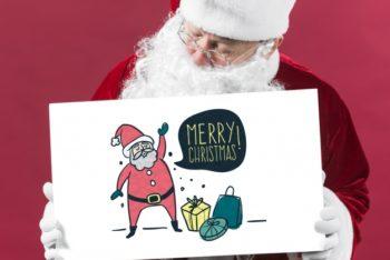 Free Santa Claus Plus Paper Sign Mockup in PSD