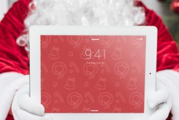 Free Santa Presenting Tablet Scene Mockup in PSD