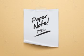 Free Simple Paper Note Scene Mockup in PSD