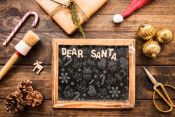 Free Dear Santa Christmas Slate Mockup in PSD