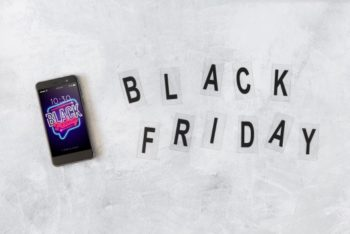 Free Smartphone Plus Black Friday Sign Mockup