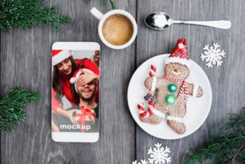 Free Christmas Gingerbread Man Plus Smartphone Mockup