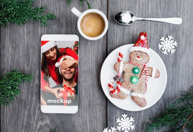 Christmas Gingerbread Man Plus Smartphone