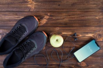 Free Fitness Regime Plus Smartphone Mockup in PSD