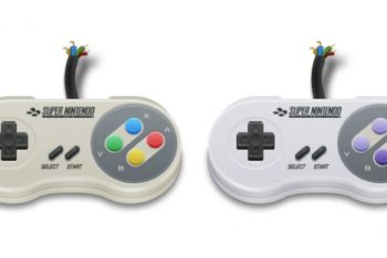 Free SNES Gamepad Controller Mockup in PSD