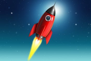 Free Launching Space Rocket Mockup in PSD