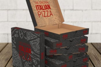 Free Pizza Box Stack Scene Mockup in PSD