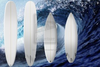 Free Surfboard Plus Wave Background Mockup in PSD