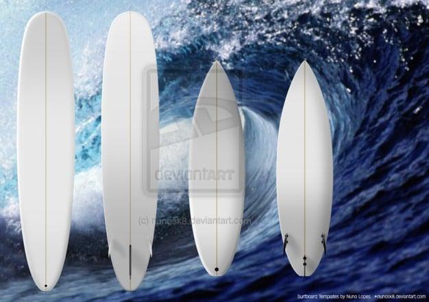 Surfboard Plus Wave Background