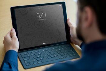 Free Business Tablet Plus Keyboard Mockup in PSD