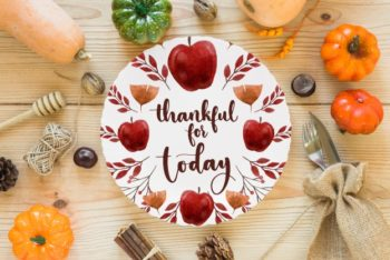 Free Happy Thanksgiving Plate Mockup in PSD