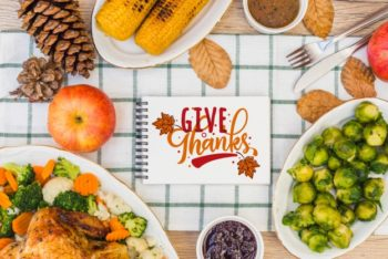 Free Complete Thanksgiving Feast Mockup in PSD