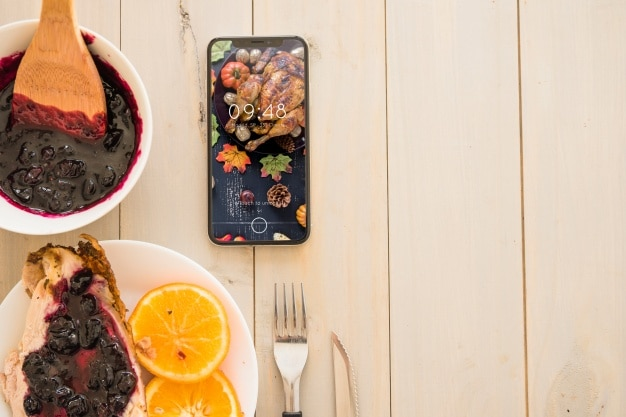 Healthy Thanksgiving Food Plus Smartphone