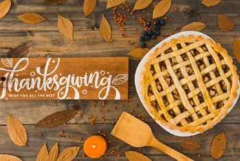 Free Thanksgiving Pie Scene Mockup in PSD