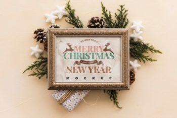 Free Christmas Winter Frame Mockup in PSD