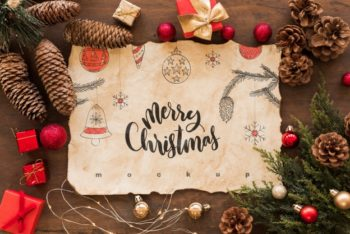 Free Christmas Greeting Plus Old Paper Mockup in PSD