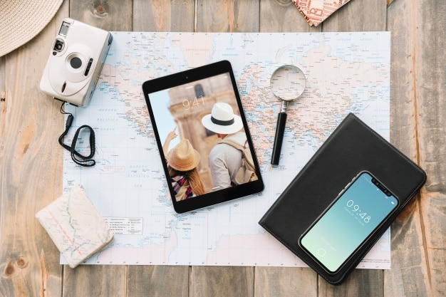 Modern Travel Concept Plus Gadgets