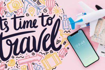 Free Modern Travel Concept Plus Smartphone Mockup