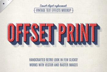Free Vintage Offset Lettering Mockup in PSD