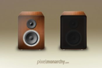 Free Vintage Wood Speaker Design Mockup in PSD