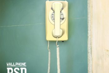 Free Old Wall Phone Scene Mockup in PSD