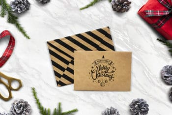 Free Christmas Letter Envelope Mockup in PSD