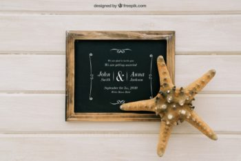 Free Beach Wedding Design Mockup in PSD