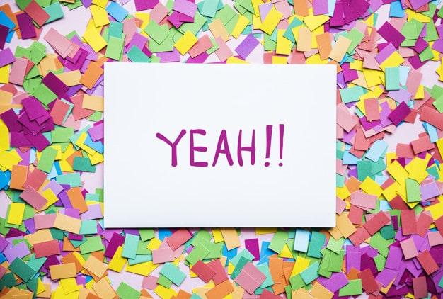 Happy Text Plus Paper Confetti