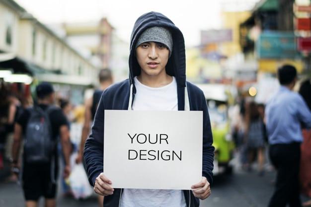 Asian Man Plus Signboard