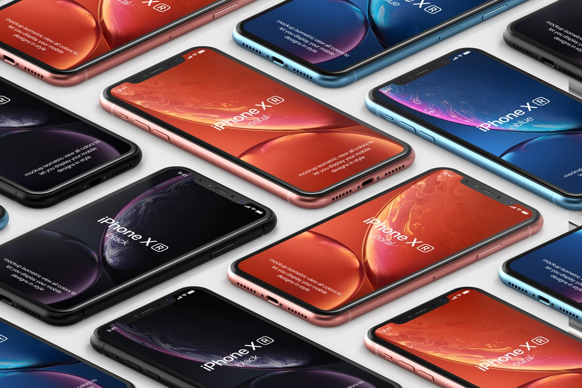 Download Free PSD Mockup Isometric for iPhone XR