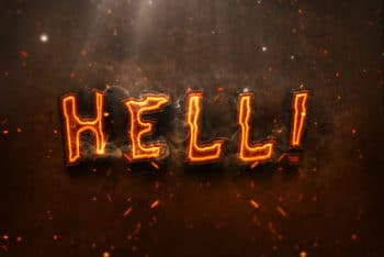 Free Hot 3D Burning Text Effect Mockup in PSD