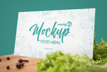 Food Menu Card PSD Mockup – Available in Print-ready Format