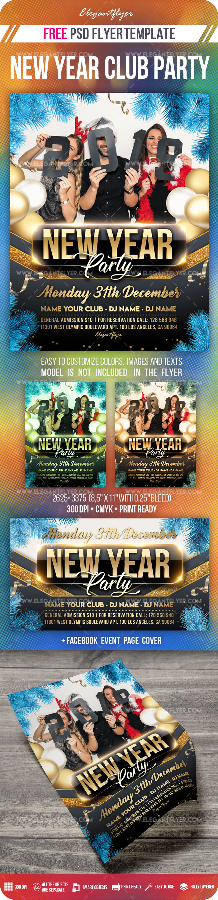 New Year Party Free Flyer PSD Mockup
