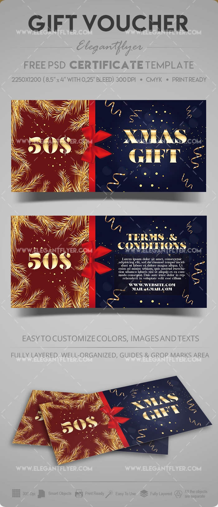 Christmas Discount Certificate PSD Mockup