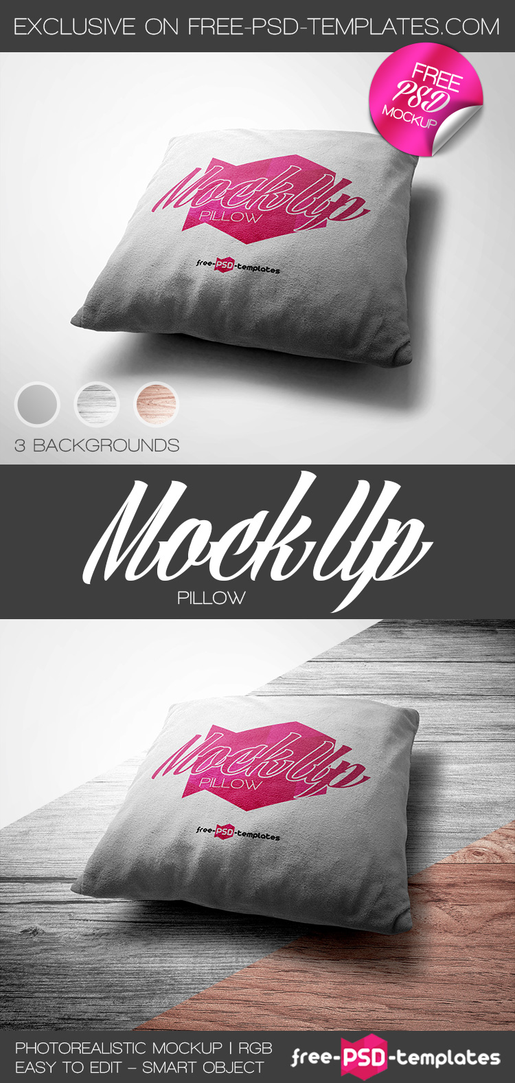 Free Pillow Mockup in PSD