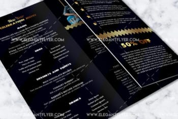 Free New Year Event Tri-Fold Brochure PSD Mockup Download