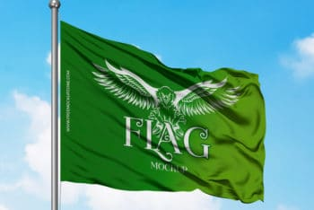 Magnificent Looking Free Flag PSD Mockup