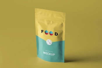 Food Pouch PSD Mockup for Designing Food Packaging