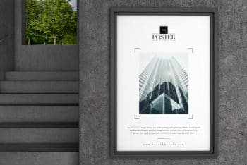 Free Concrete Wall Poster PSD Mockup for Industrial Interior