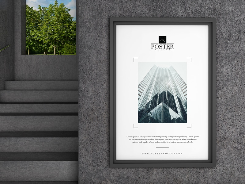 Free Concrete Wall Poster PSD Mockup Design