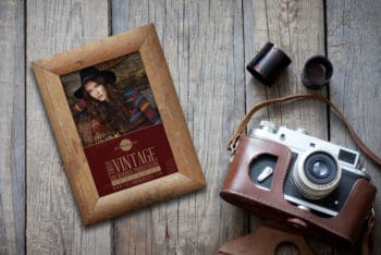 Photorealistic Wooden Photo Frame PSD Mockup