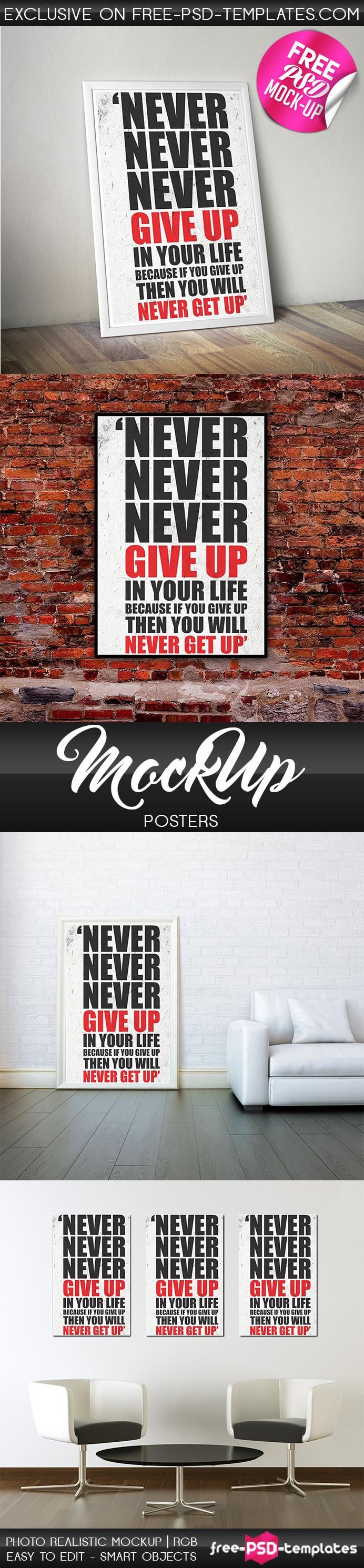 free poster PSD mockup