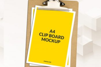 A4 Clipboard PSD Mockup for Free