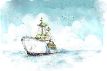 Free Handpainted Sea Voyage Card Mockup in PSD