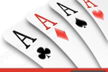 Free Assorted Card Aces Design Mockup in PSD