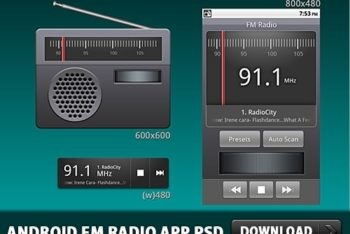 Free Android Digital Radio Design Mockup in PSD