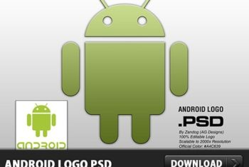 Free Minimalist Android Logo Mockup in PSD